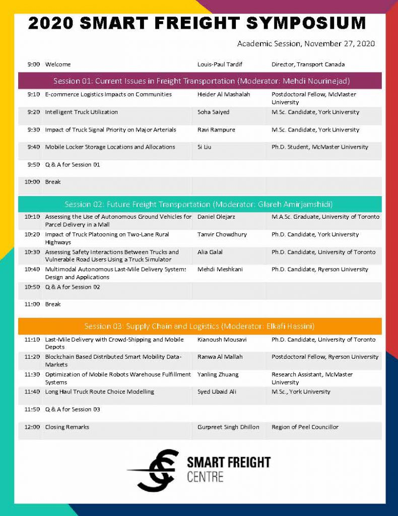 page two of Smart Freight Symposium agenda