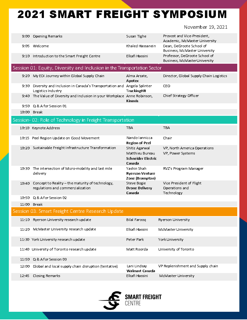 page one of Smart Freight Symposium program