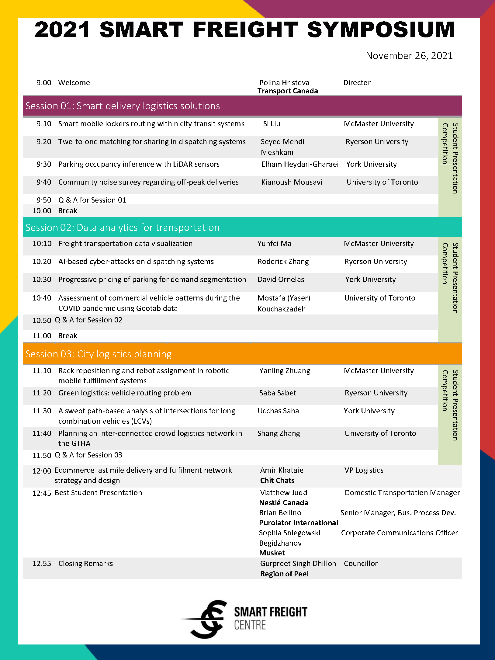 page two of Smart Freight Symposium program